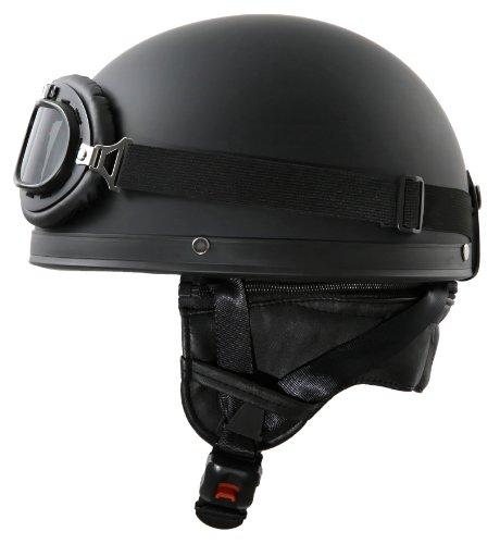 ATO-Helme Oldtimer Motorradhelm in Schwarz matt mit Brille Größe L 59 bis 60cm