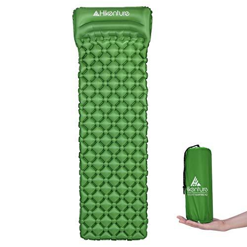 Hikenture Unisex Adult hiken-1 Kleines Packmaß Ultraleichte Aufblasbare Isomatte-Sleeping Pad für Camping, Reise, Outdoor, Wandern, Strand, Grün mit Kissen, 1