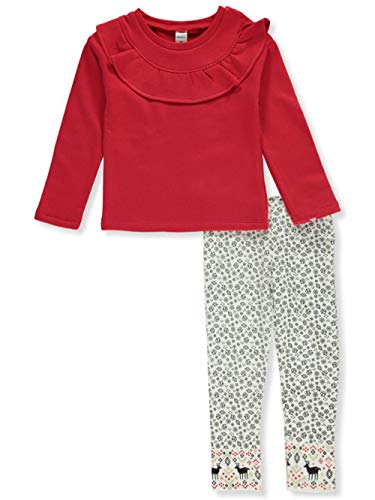 Carter's Toddler Reindeer Ruffle 2-Piece Leggings Set Outfit - red/Multi, 4t