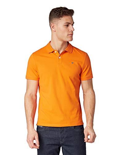 Tom Tailor (NOS) Herren Poloshirt Basic Halbarm, Orange (Bright Dark Orange 16607), Medium (Herstellergröße: M)