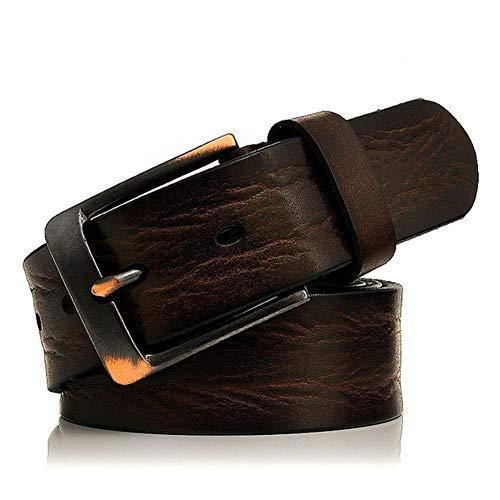 hgkl - Cinturón de piel para hombre de negocios de alta calidad, pulsera para hombre, ancho de ardillon vaqueros (longitud: 105 cm, color: cama)