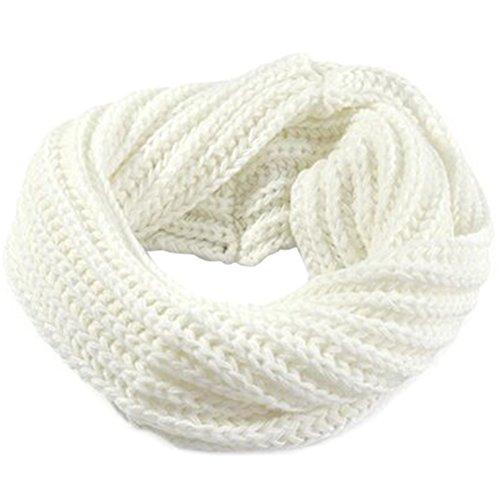 BESTOYARD Sciarpa scaldacollo maglia Copricollo invernale morbido e caldo unisex in Bianco