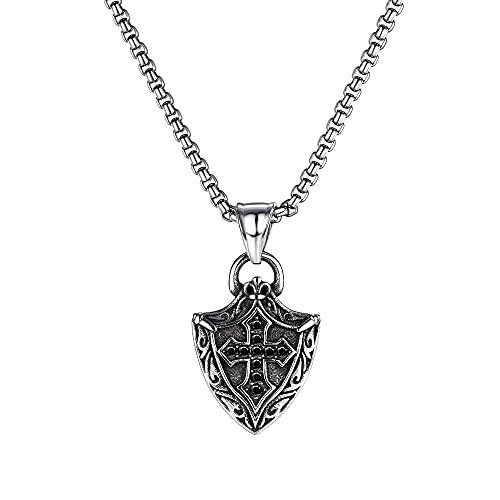 NC520 Personalidad de la Calle de la Moda Retro Punk Rock Cross Shield Colgante de Collar de Acero de Titanio para Hombres