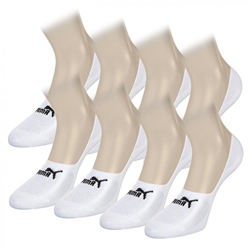 PUMA Unisex Invisible Footie Sport Socken Sportsocken 8er Pack (39-42, white)