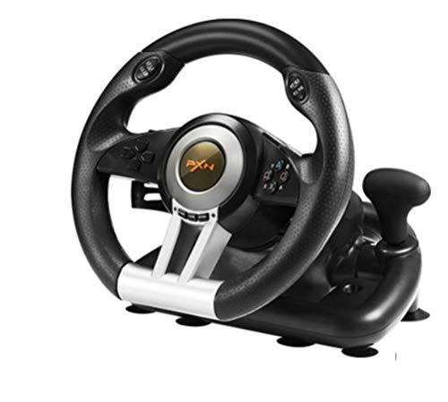 YZSL Ordinateur Jeu de Course au Volant, 180 ° Car Simulator réactive Pédale Racing Ordinateur Jeu Volant Pliant Pédale Double Vibration Moteur pour la Fixation Facile