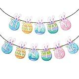 BETESSIN Striscione Pasquale Ghirlande di Bandierine Colorate Forma di Uova di Pasqua con Orecchio di Coniglio Carta Banner Decorazione Addobi da Appendere per Festa di Pasqua Happy Easter