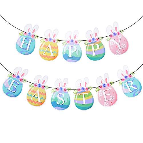 Guirnalda Papel Happy Easter Inglés Adorno Banner Banderín Decorativo con Huevos Pascua Orejas de Conejos Colgar Pancarta para Celebrar Fiesta de Pascua DIY Cartulina