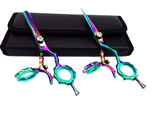 "star scissors Thumb Swivel Professional Hairdressing Thinning Hair Cutting Scissors Shears Set Japanese Steel Plus Free Case, 5.5"" L"