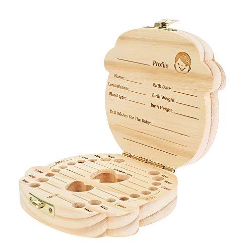 Vektenxi Universal Baby Zahn Box Speicher Lagerung Souvenir Box Holz Mädchen Muster Infant Ändern Zahn Haar Nabelschnur Cordyard Konservierung Box 1 Stücke