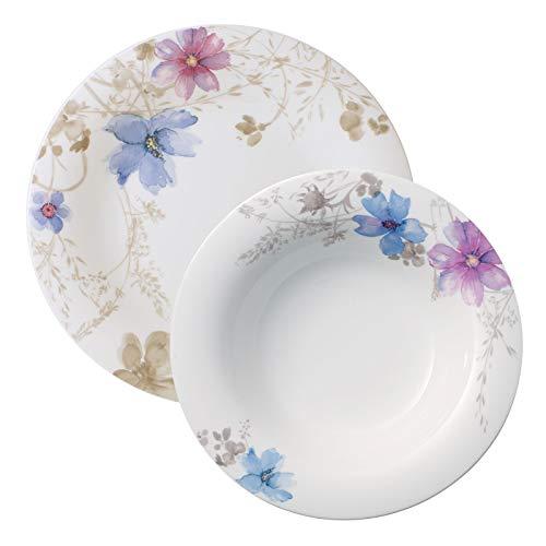 Villeroy & Boch - Mariefleur Gris Basic Tafel-Set, 12 tlg, Premium Porzellan, spülmaschinen-, mikrowellengeeignet, weiß/bunt