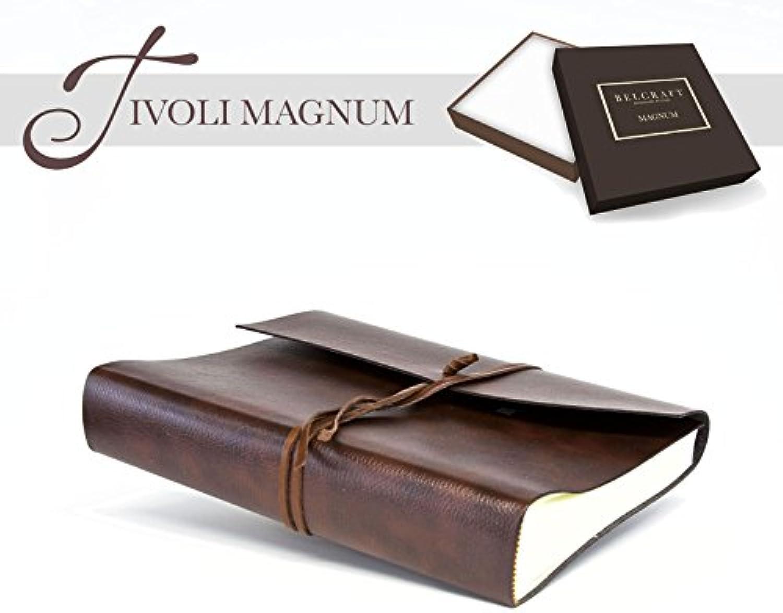 Tivoli Magnum Fotoalbum aus recyceltem Leder, Handgearbeitet in klassischem italienischem Stil, Geschenkschachtel inklusive, A4 (23x30 cm) Braun
