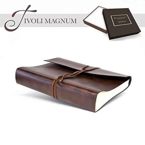 Belcraft Tivoli Magnum groot lederen fotoalbum, gemaakt in ITALIË, Memory fotoalbum, Scrapbook, fotoalbum 6x4, cadeau-idee & kerstcadeau voor familie, inclusief doos, A4 (23x30 cm) bruin