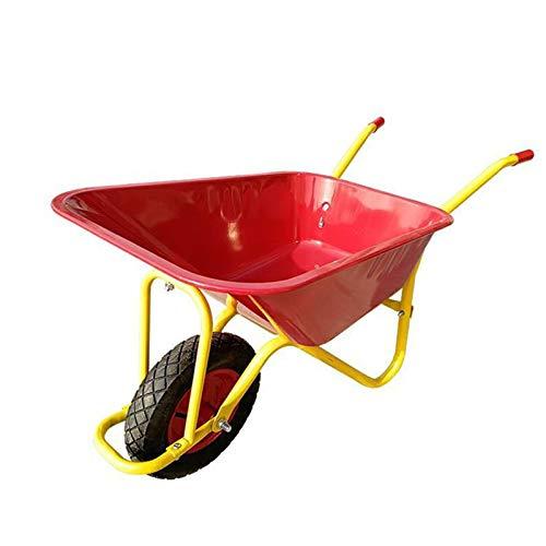 TWW Carretilla Carretilla Agrícola Carretilla De Construcción De Una Sola Rueda Jardinería De Flores Basura Camión De Cubo Pequeño Hogar,Rojo