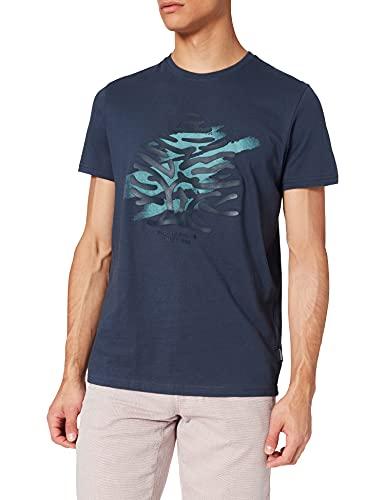 Springfield Camiseta Logo árbol, Azul Medio, M para Hombre