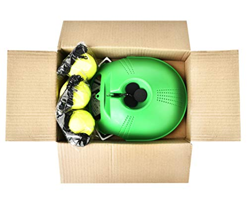 WHIZZ Tennis Self Training Tool (Base + 3 Balls)│Anti Slippery Tennis Trainer Equipment│Perfect Practice for Beginners to Pros│Kids Tennis Training Set│Solo Tennis Trainer Green Color