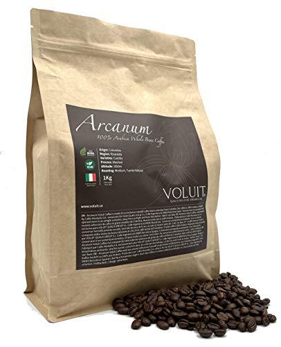VOLUIT ARCANUM – Café En Grain 100% Arabica   Sélection exclusive du Colombie   Café de Spécialité Premium   Café en Grains Torréfiés de Manière Traditionnelle - 1KG   Torréfaction Artisanale - 1KG