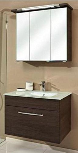 PELIPAL Trentino 74 cm mit Glaswaschbecken, Unterschrank und Spiegelschrank, BadMöbel