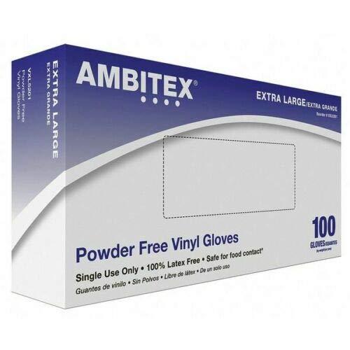 Ambitex Vinyl General Purpose Gloves, Powder Free Vinyl Gloves, XL, EXTRA LARGE, XL5201 - Case of 1000