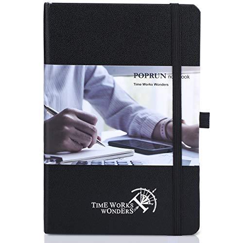POPRUN Klassisches liniertes Notizbuch, A5, Hardcover, mit 3 Indexen, 235 nummerierten Seiten, Stiftschlaufe und erweiterbarer Tasche, Schwarz