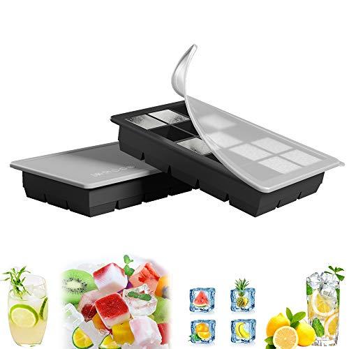 GoZheec Eiswürfelform, große Silikon Eiswürfelbehälter mit Deckel, BPA-Frei Für Große Eiswürfel (3 .5 * 3 .5 * 3cm)(Schwarz-2) (2 PACK)