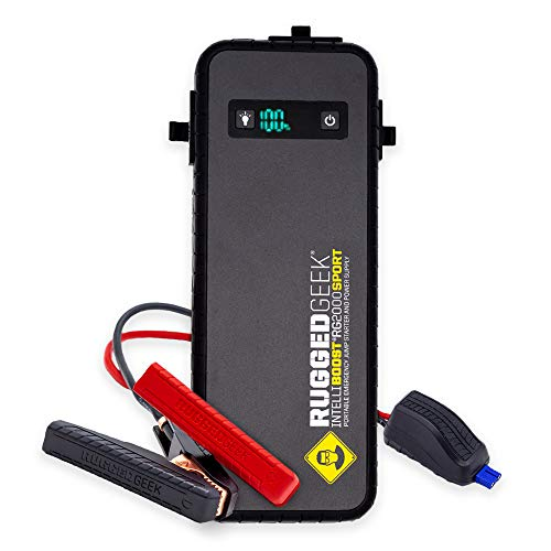 Rugged Geek RG2000 Sport 2000A Portable 12V Jump Starter / Auto Booster Pack / Power Bank with LED Display, INTELLIBOOST Smart Cables, LED Flashlight, 60W USB Type-C. IP66 Rated. Gas and Diesel