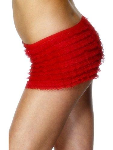 Smiffys Culotte plissée, rouge, avec dentelle