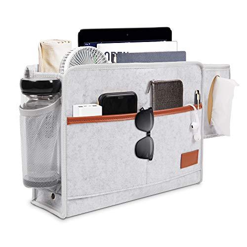 Mookis Bett Organizer Betttasche zum Einhängen mit Flaschenhalter Anti Rutsch Aufbewahrungstasche für Buch, Zeitschriften, iPad, Handy(A)