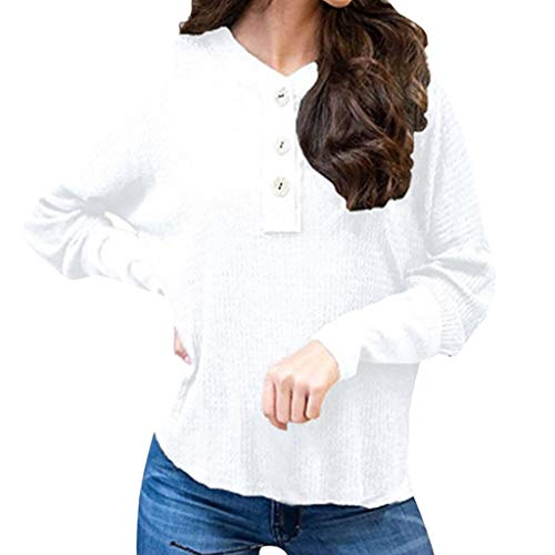 Dames lange mouwen knoop blouse casual gebreide trui tops ronde hals sweatshirt losse T-shirt blouse tuniek top V-hals shirt met lange mouwen sweater jumper tops