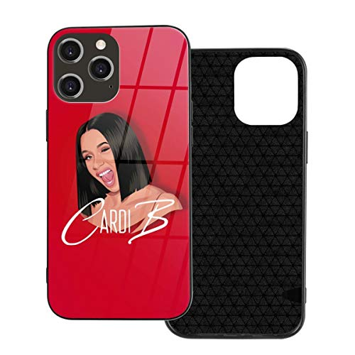 DFHDFH Cardi B Compatible with iPhone 12, iPhone 12Pro, iPhone 12mini, and iPhone 12 Pro Max Case Tempered Scratch Resistant Glass Clear Thin Slim Cover
