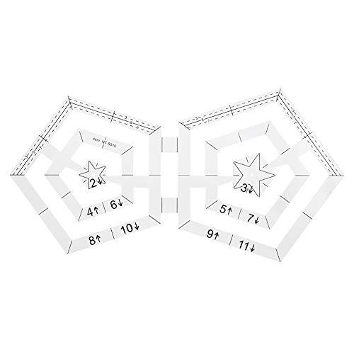 Reglas de acolchado del Pentágono, regla de costura, herramienta de dibujo de costura de retazos de material acrílico de doble Pentágono para tecnología de costura Patch-Work