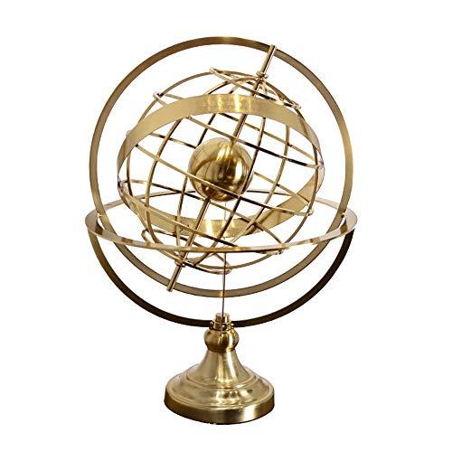 DAMAI STORE Spinning Globus Ornamente Luxus High-End-europäischen Stil Metall-Handwerk Home-Office-Modell Raum TV-Schrank Verzierungen (Size : 25 * 25 * 38cm)