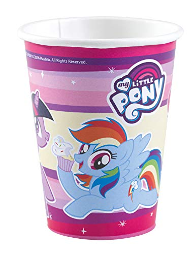 amscan 11012112 Vasos de papel desechables coloridos con diseño de My Little Pony, 8 unidades