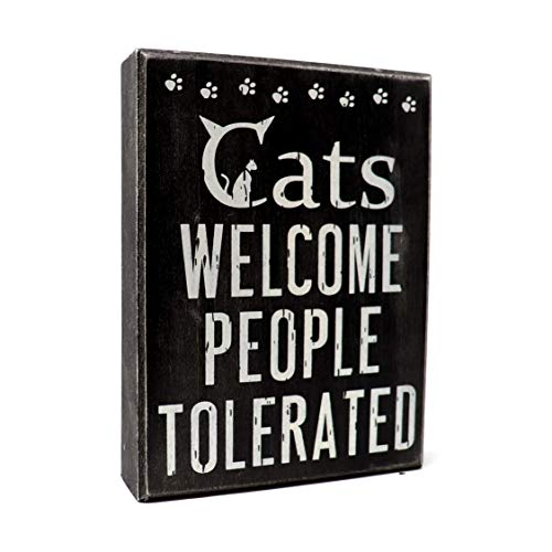 JennyGems – Cats Welcome People Tolerated – Cat Signs for Home Decor – Cat Lover Decor – Cats Welcome Sign- Cat Signs – Cat Lover Gifts, Funny Cat