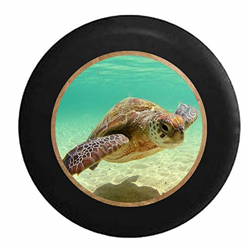Cubiertas De Neumáticos para Rueda De Repuesto Fondo De Playa De Arena con Tortugas Marinas Nadando A Través del Océano Negro A Prueba De Polvo, Impermeable