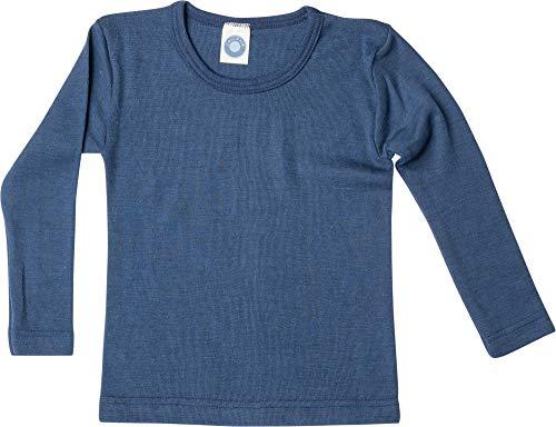 Cosilana Kinderunterhemd - Langarmshirt Wolle/Seide 128 Uni Marine 08