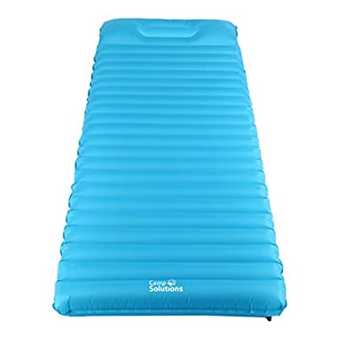 Camp Solutions TPU Thick Ultralight Lightweight Air Inflating Mattress Pad with Pillow