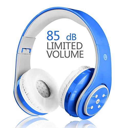 VOTONES Kinder Bluetooth Kopfhörer, Drahtlos Kopfhörer für Kinder mit Mikrofonvolumen begrenzt Faltbare Kopfhörer,Kompatibel für Smartphones/PC/TV/Tablets (Blau)