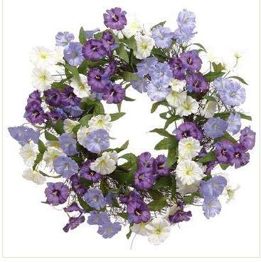 TenWaterloo corona de gloria de la mañana morada y blanca, 61 cm sobre base de ramitas naturales, flores artificiales y verdes, corona floral para puerta delantera