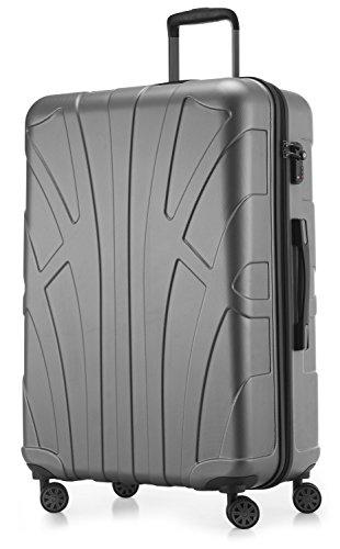 Suitline großer Hartschalen-Koffer Koffer Trolley Rollkoffer XL Reisekoffer, TSA, 76 cm, ca. 86 Liter, 100% ABS Matt, Silber