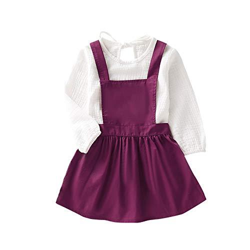 BOBORA Ensemble Bébé Fille, 2PCs Vêtements Fille Enfants Chemise Blanche à Manches Longues en Coton avec Jupe Salopettes 1-6Ans