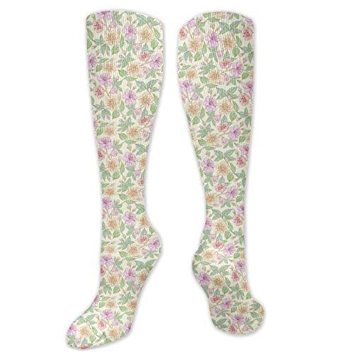 Calcetines altos de compresión generados digitalmente Cosmea y flores de Zinnia, arte botánico, calcetines para mujeres y hombres, lo mejor para correr, atletismo, senderismo, viajes, vuelo.