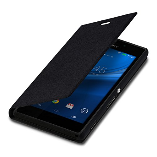 kwmobile Funda Compatible con Sony Xperia M2 - Carcasa con Tapa Tipo Libro - Case Protector en Negro