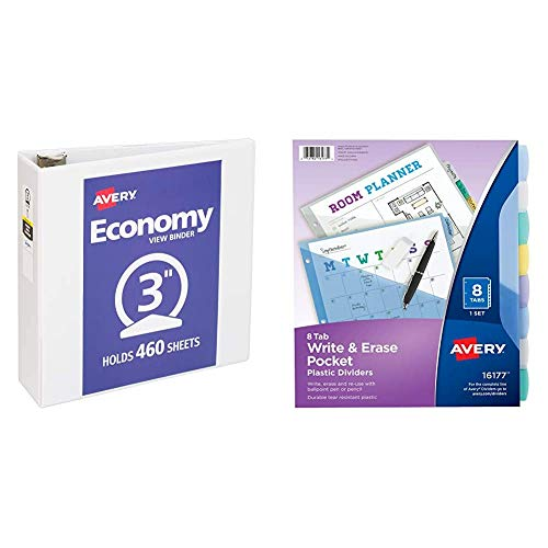 Avery 3' Economy View 3 Ring Binder, Round Ring, Holds 8.5' x 11' Paper, 1 White Binder (5741) & 8-Tab Plastic Binder Dividers with Pockets, Write & Erase Multicolor Big Tabs, 1 Set (16177)