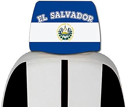 El Salvador Bandera de cubierta para coche de asiento 2Pcs–con, gratis iPhone 6s Caso o en la cabeza banda diseño en su bandera color Logo.