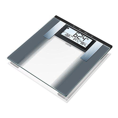Sanitas SBG 21 Diagnosewaage, zur Messung von Gewicht, Körperfett-, Körperwasser- und Muskelanteil, Knochenmasse, Kalorienbedarf