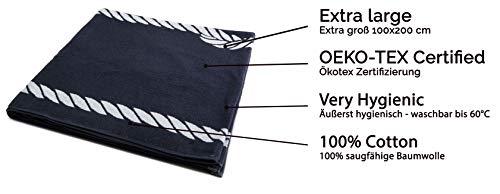 ZOLLNER Telo Mare, 100x200 cm, 100% Cotone, Blu Marino, Altri Colori