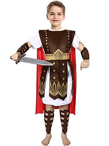 SATINIOR Römischer Krieger Kostüm Jungen und Mädchen Krieger Kostüm Set für Halloween Kostüm, Einfarbig, XL