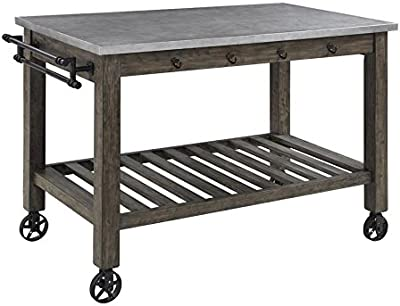 Davenport 1-shelf Kitchen Island with Casters Aged Patina and Gunmetal
