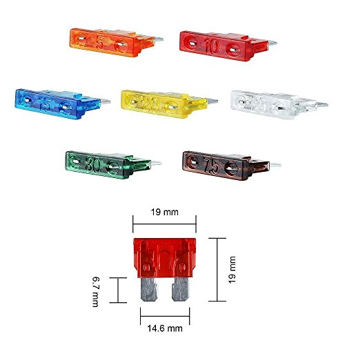 140pcs ATO / APR / ATC Fuse Car Kit Assorted Auto Car Truck Standard Blade Fuse Assortment 2A-40A + Inline 16 AWG Gauge Holder kit for Car Boat Truck