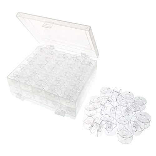JZK 50 x Canillas vacias máquina de coser con caja para Hermano Janome Cantante Elna Babylock Kenmore, plastico transparente